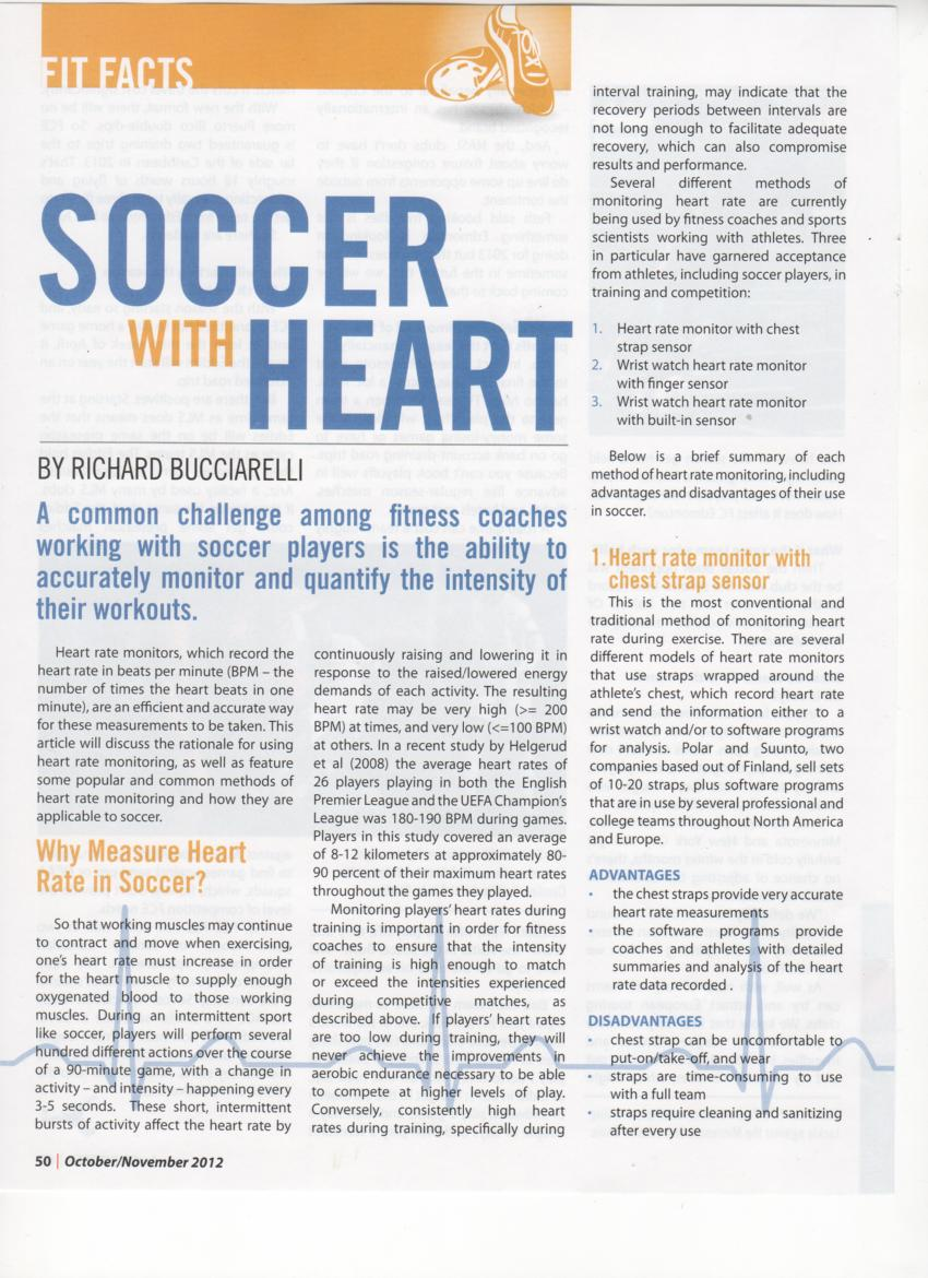 "New Article ""Soccer With Heart"" In Inside Soccer Magazine"